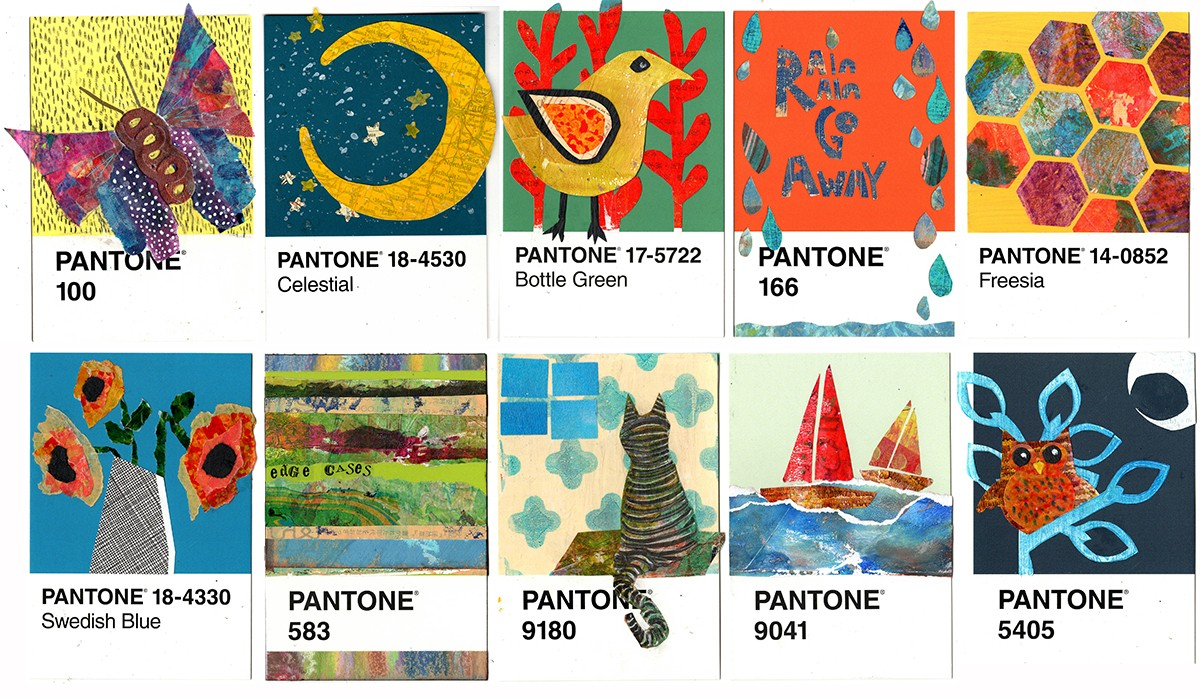 the 100 Day Project 10 Pantone postcards with collages.