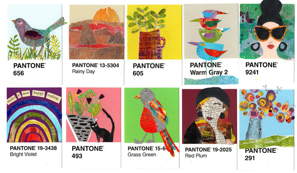 10 Pantone postcards with collages for the 100 Day Project.