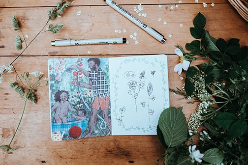 Art journal and pens on a table