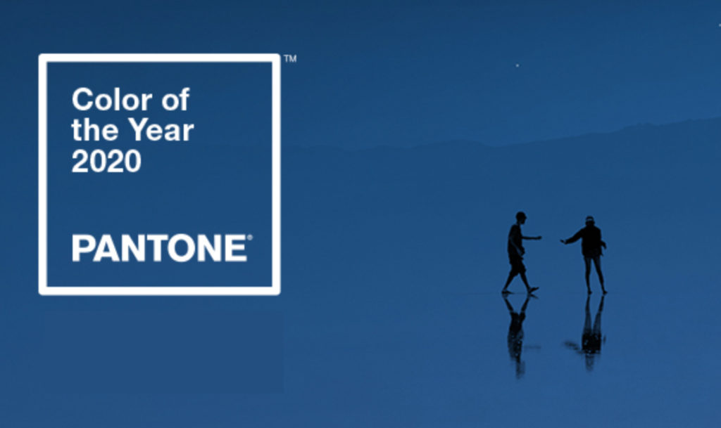 Color of the Year 2020 Pantone. Silhouette of 2 figures on a blue background.