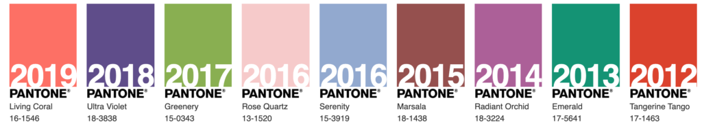 Pantone's past colors of the year 2012-2019