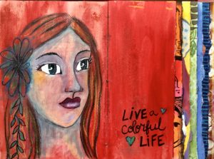 Art Journal spread red with three-quarters portrait