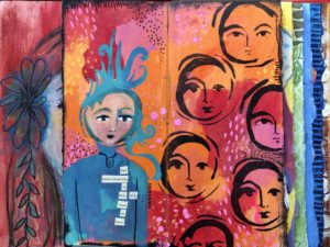 Orange art journal spread about individuality