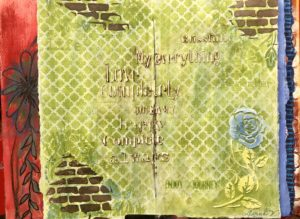green art journal page with bricks
