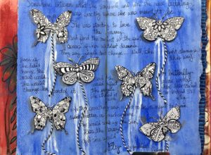 blue art journal page with zentangle butterflies