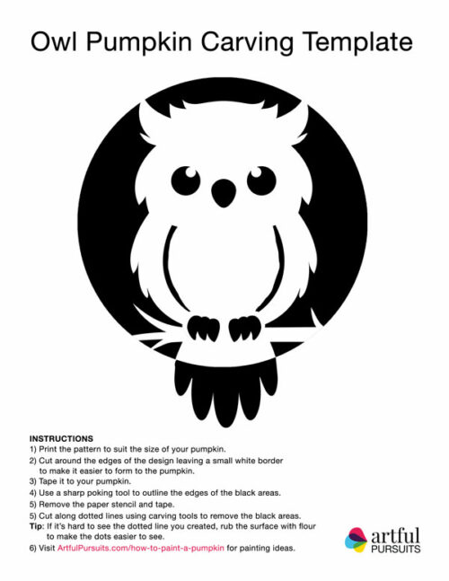 owl pumpkin carving template printable