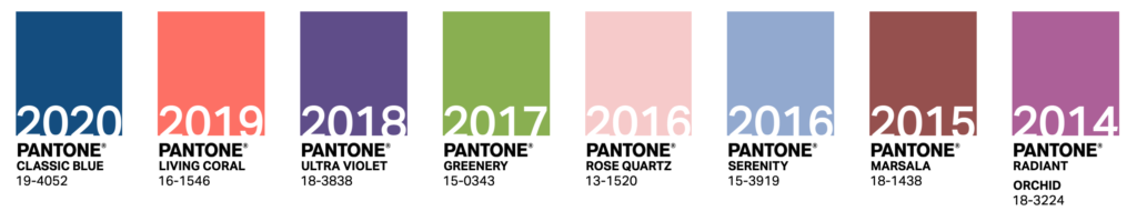 visual history of pantone colors from 2014-2020